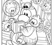 Coloring pages Club Penguin reading