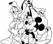 Coloring pages Goofy, Donald and Mickey