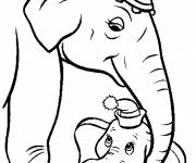 Coloring pages Dumbo et Mrs. Jumbo Disney