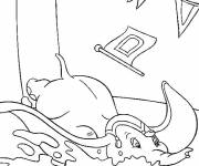 Coloring pages Dumbo fell