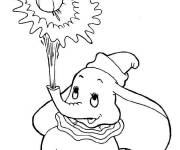Coloring pages Dumbo shoots a ball