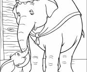 Coloring pages Mrs. Jumbo plays with Dumbo