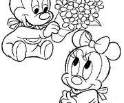 Coloring pages Fantasia, little Mickey and minnie