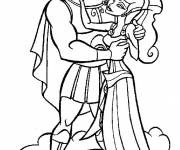 Coloring pages Hercules and Megara on the clouds