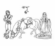Coloring pages Maximus, Eugene and Rapunzel
