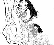 Coloring pages Viana and Maui in the land of monsters