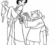 Coloring pages Grandmother Fa and Mulan