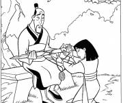 Coloring pages Mulan and her father