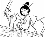 Coloring pages Mulan and her horse online