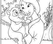 Coloring pages Mulan and the little bear