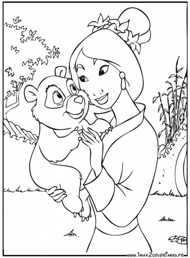Free coloring and drawings Mulan and the little bear Coloring page