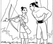 Coloring pages Mulan disguised as a man