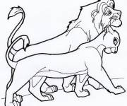 Coloring pages Nala and the king walk together