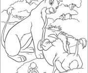 Coloring pages Nala et Pumbaa