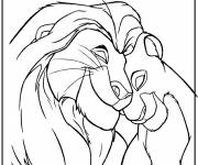 Coloring pages The Lion King and Nala