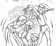 Coloring pages Peter Pan and the children