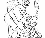 Coloring pages Gapetto prepares Pinocchio for school