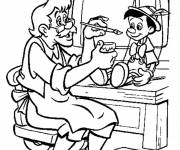 Coloring pages Gapetto puts the colors on Pinocchio