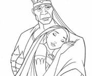Coloring pages Pocahonta hugs his father tightly