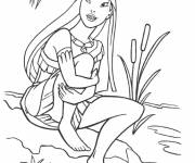 Coloring pages Pocahontas and Flit