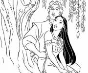 Coloring pages Pocahontas and John admire the tree