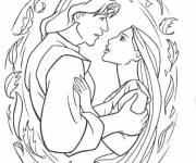 Coloring pages Pocahontas and John Smith