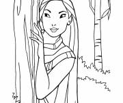 Coloring pages Pocahontas is hiding