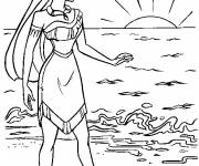 Coloring pages Pocahontas watches the sunrise