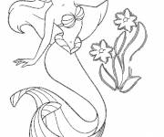 Coloring pages Princess Ariel and pretty flowers