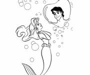 Coloring pages Princess Ariel dreams of her prince