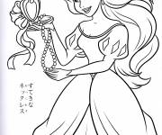 Coloring pages Princess Ariel loves her necklace