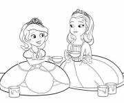 Coloring pages Princess Sofia and Amber painting