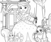 Coloring pages Princess Sofia and her animals