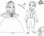 Coloring pages Princess Sofia, James, Mia and Clever