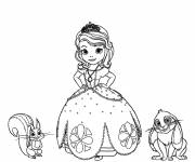 Coloring pages Princess Sofia, kiki the squirrel and Clever the rabbit