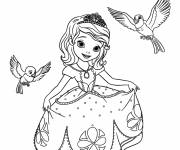 Coloring pages Princess Sofia talks to birds