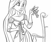 Coloring pages Rapunzel admires her crown