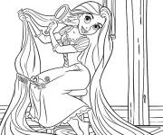 Coloring pages Rapunzel brushes her hair