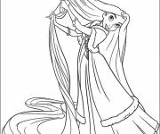 Coloring pages Rapunzel brushes her long hair