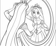Coloring pages Rapunzel looks in the mirror