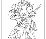 Coloring pages Rapunzel prepares for a fight