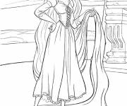 Coloring pages Rapunzel with her long hair