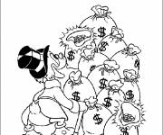 Coloring pages Scrooge is delighted with the large sum of money