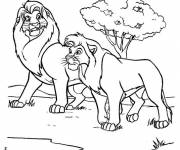 Coloring pages Mufasa and Simba on a ride