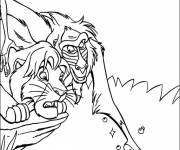 Coloring pages Rafiki teaches Simba