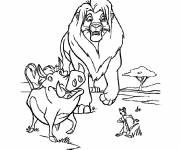 Coloring pages Simba, Pumbaa and Timon