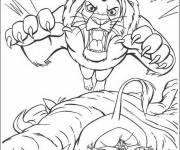 Coloring pages The Lion King prepares to defend himself