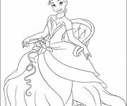 Coloring pages Princess Tiana seated