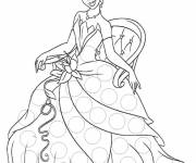 Coloring pages Princess Tiana sitting on a chair