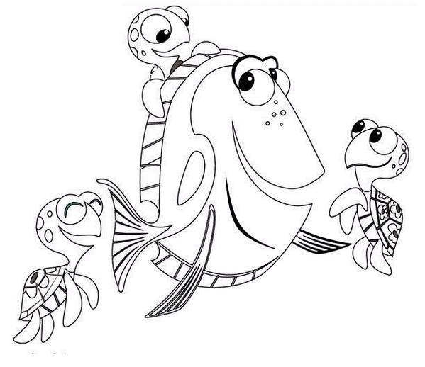 Free coloring and drawings Dory and her friends Coloring page